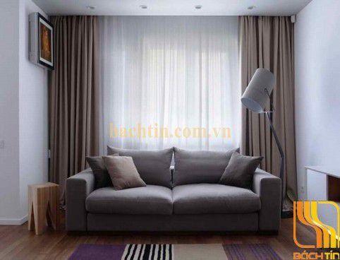 Rèm cửa màu nâu phòng khách tại Huế