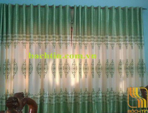 Rèm vải xanh kem hoa văn tại Huế