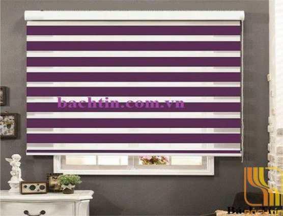 Rèm cuốn hai lớp xanh violet