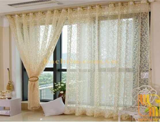 Rèm vải von mỏng phòng khách tại Huế